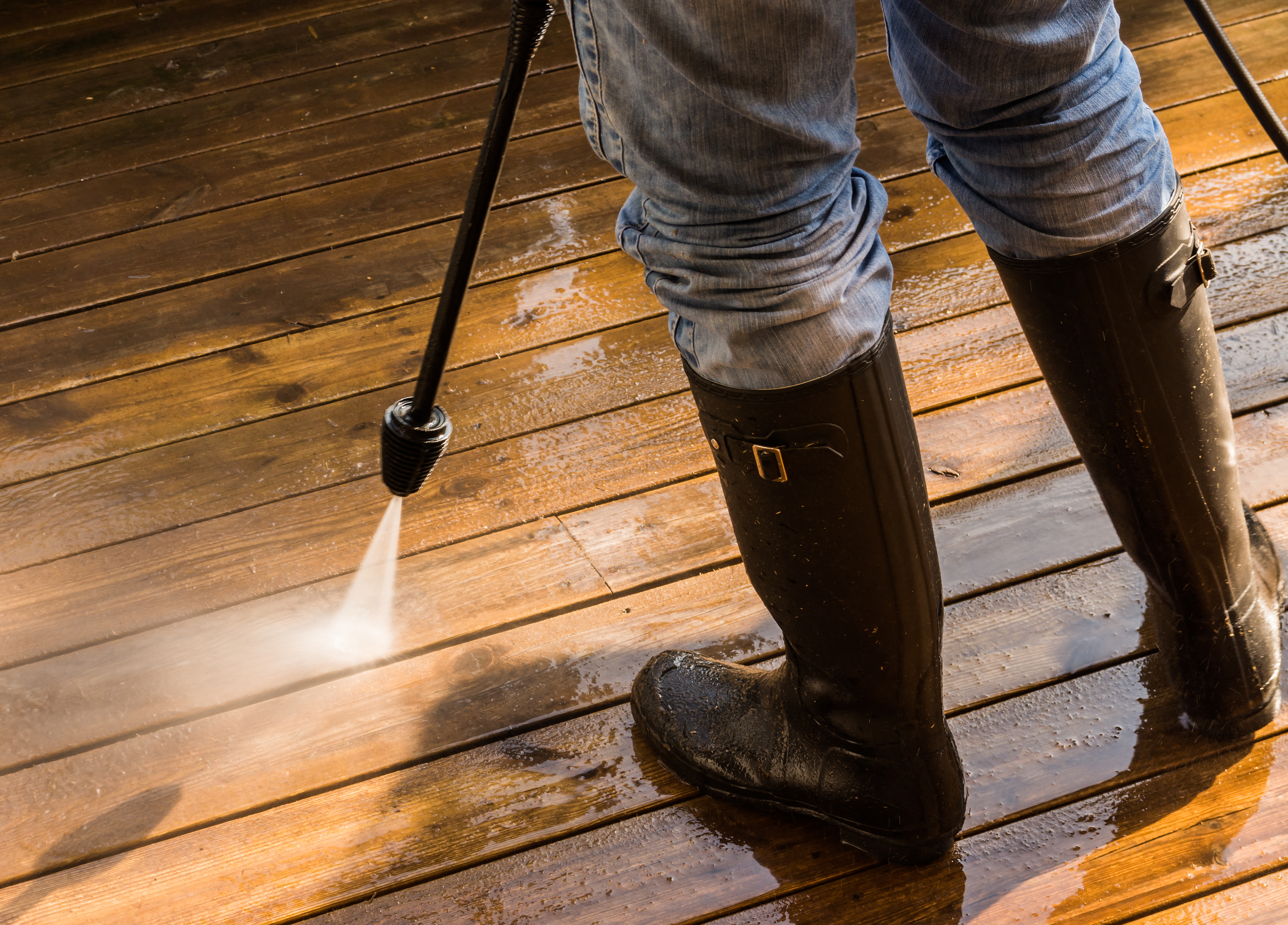 Pressure washing safety while cleaning deck and patio