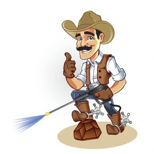 Illustration of a cowboy with water blaster